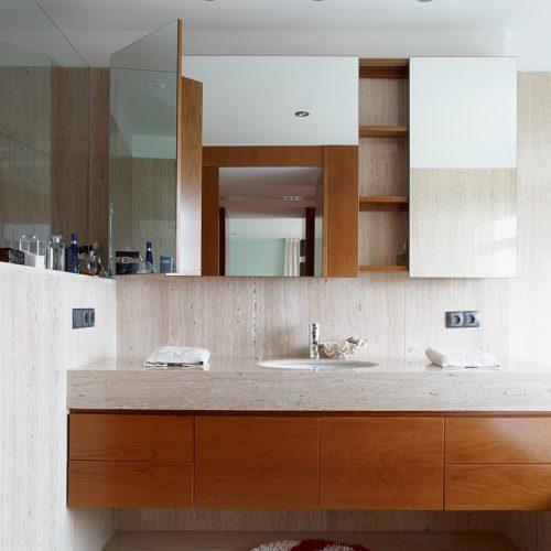 mueble de bano estanteria cerezo y cristal p11