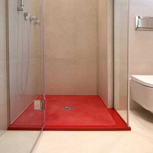 mueble de bano lacado rojo ducha p12