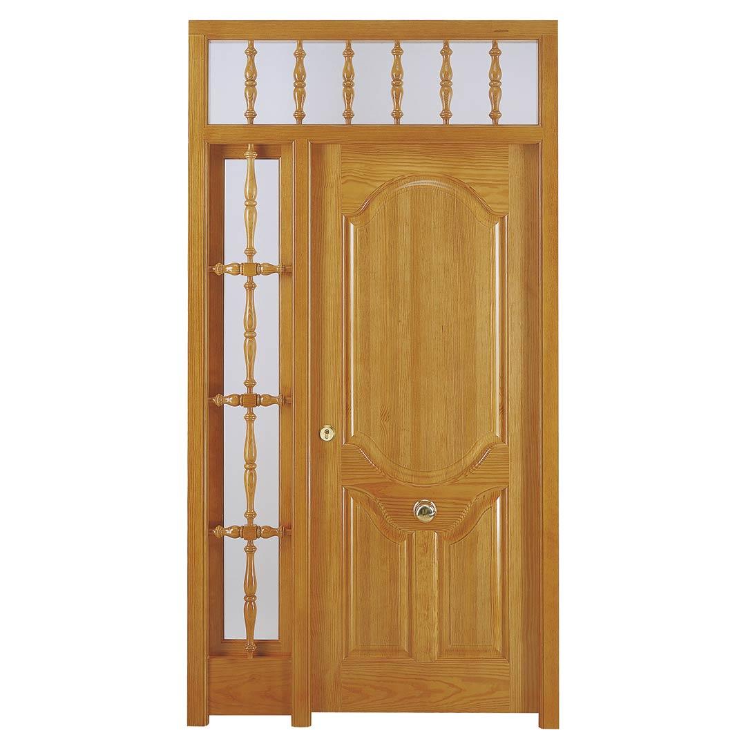 Puerta exterior de madera artesanal modelo Añísclo