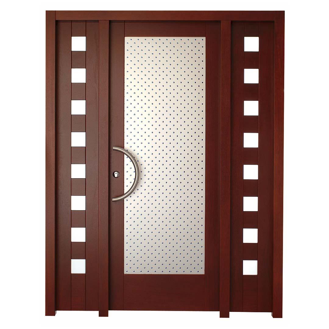 Puerta en madera de Iroko para entrada Zuriza