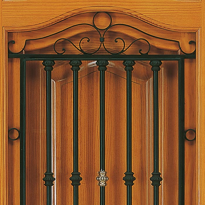 Reja de hierro forjado en puerta de casa depueblo